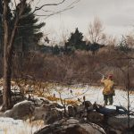 Painting of man wingshooting in snow