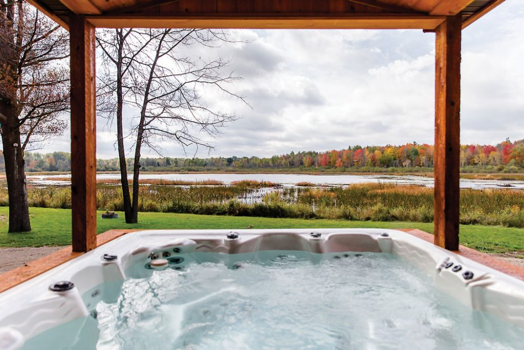 hot tub overlooking view