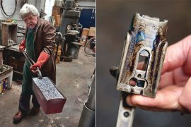 Left: Robin Brown removes a packed pot from the kiln and heads for the cold-water quench. Right: an action body freshly imbued with color and a hardened surface.