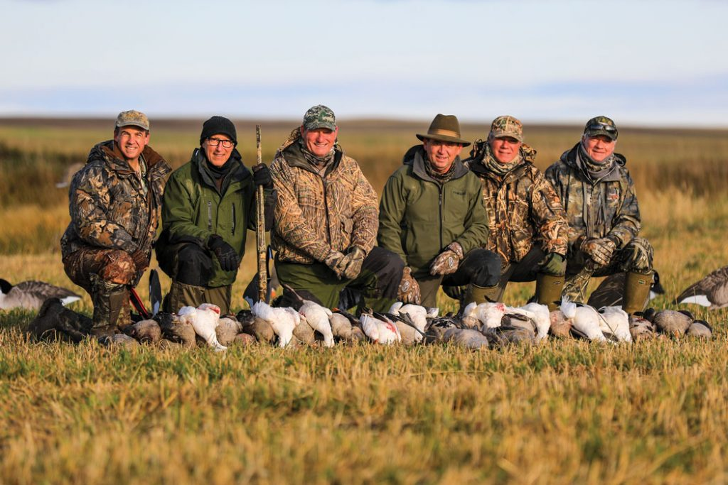 The author's group enjoyed two banner days on the prairie, taking a mixed bag of specklebellies, Canadas, Ross' geese and ducks.