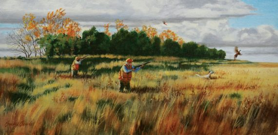 """""""Roosters in the crp,"""" by Bucky Bowles."""